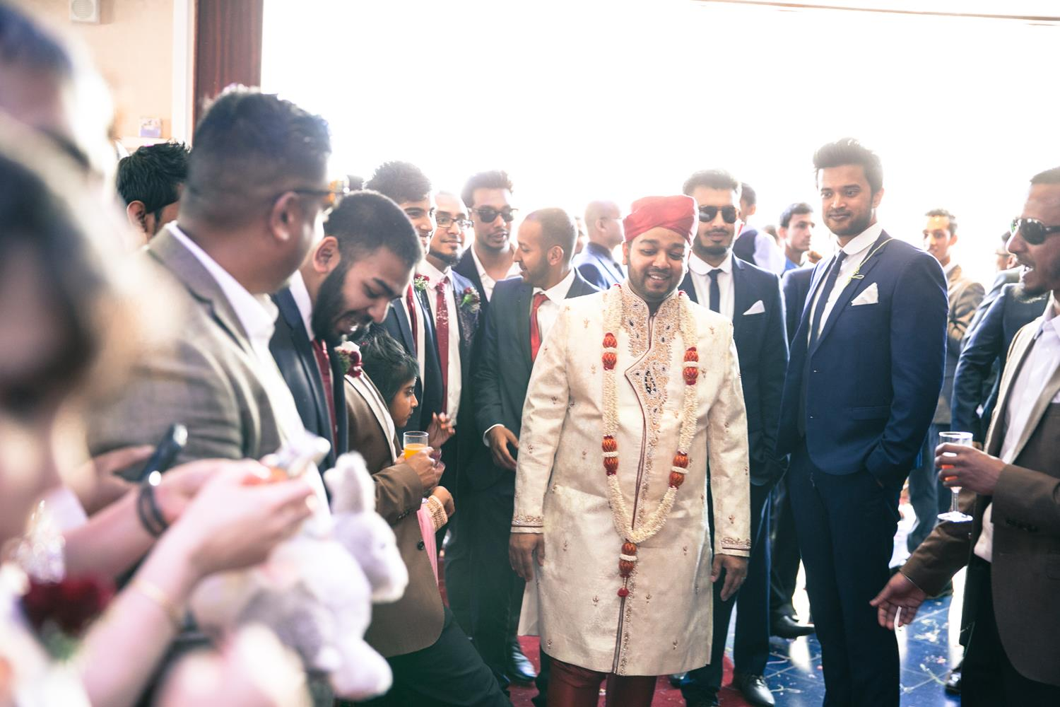 Wedding Photography of Groom walking into his wedding by MAKSAM London Photographer