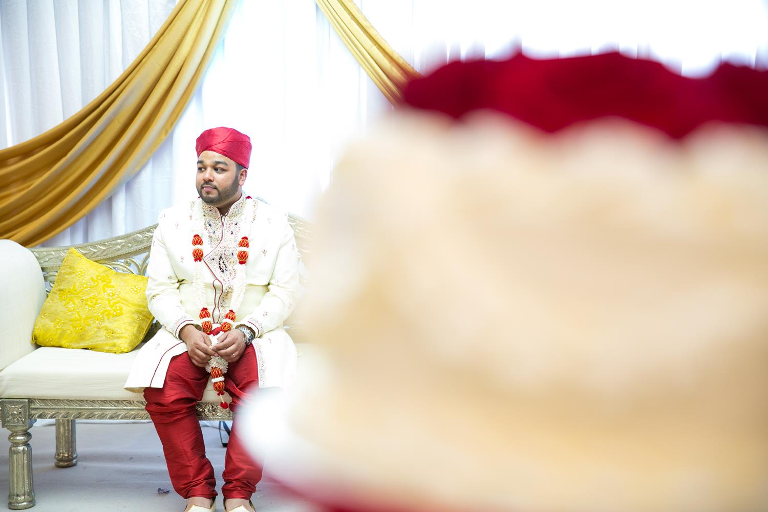 Wedding Photography of Groom at Bengali Wedding by MAKSAM London Photographer