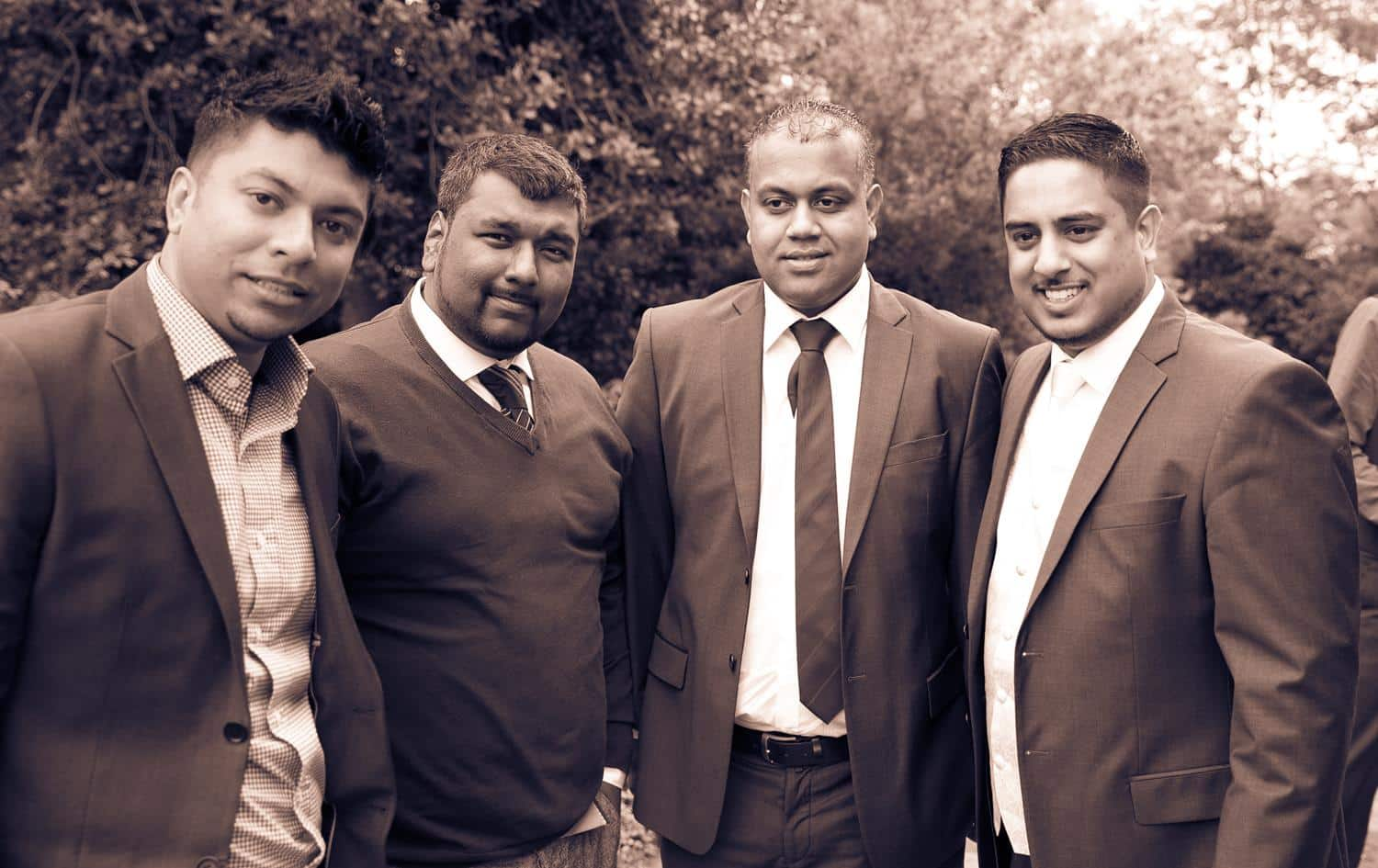 Tan brown Registry Photography of groom and friends by MAKSAM Photography