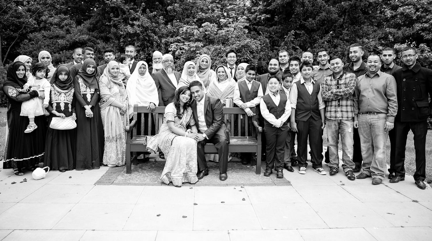 Black and White group Registry Photograph of family by MAKSAM Photography